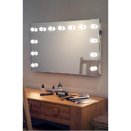 Гримерное зеркало без рамы 80х130 с подсветкой светодиодными лампочками