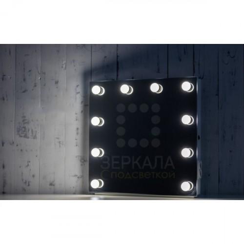 Безрамное гримерное зеркало 60х60 с подсветкой и розеткой